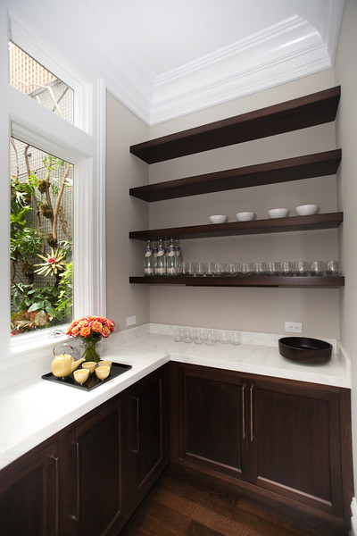 L shaped butler 39 s pantry transitional kitchen marsh for Butlers kitchen designs
