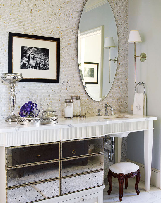 Antique Mirrored Vanity - Antique Mirrored Vanity - Traditional - Bathroom - Benjamin Moore