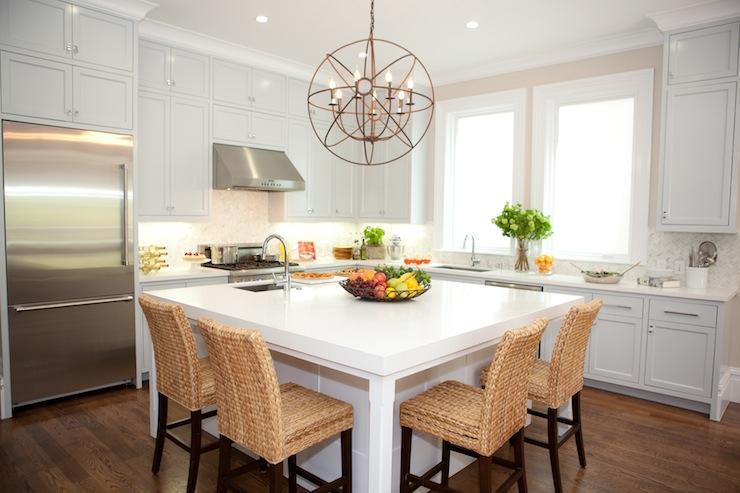 Square Island Kitchen thick white quartz countertops design ideas