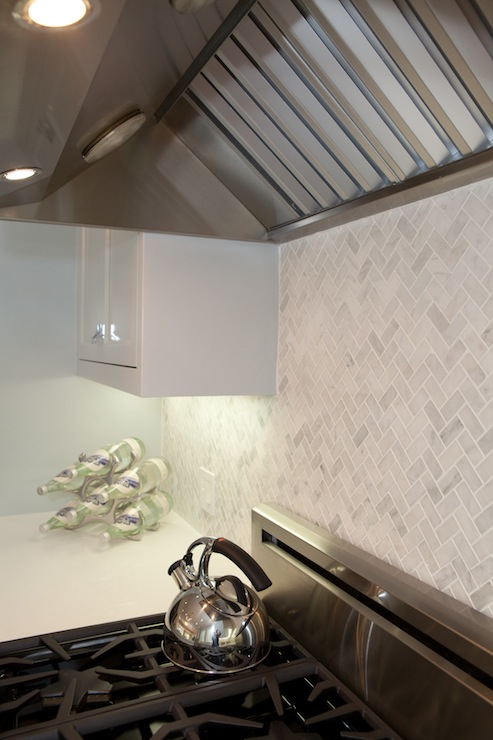 Marble Herringbone Backsplash Cottage Kitchen Marsh