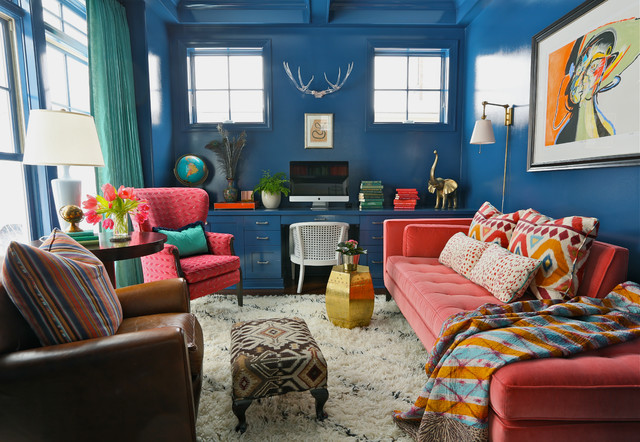 indigo home office. Eclectic Office With Glossy Indigo Blue Walls As Well Lacquer Desk Filled Red And Gold Accents Paired White Cane Chair. Home