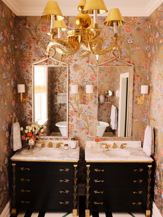 Metallic Floral Wallpaper Eclectic Bathroom Summer
