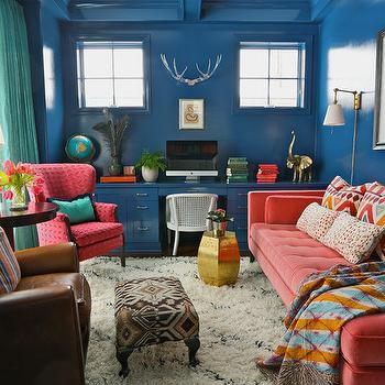 Salmon Pink Sofa, Eclectic, den/library/office, Summer Thornton Design