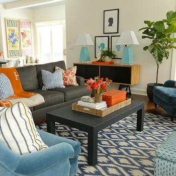 Orange Hermes Throw, Contemporary, living room, Summer Thornton Design