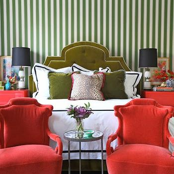 Green and Red Bedroom, Eclectic, bedroom, Summer Thornton Design