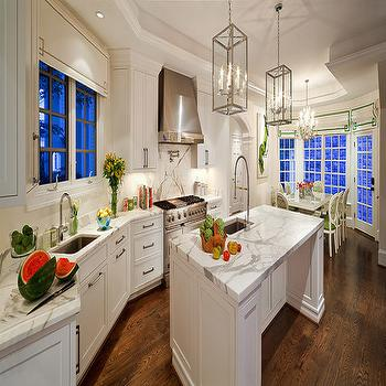 Calcutta Gold Marble Countertop, Transitional, kitchen, Kellie Burke Interiors