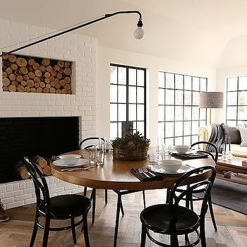 Fireplace Firewood Nook, Transitional, dining room, Summer Thornton Design