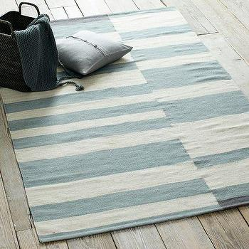 Offset Stripe Wool Dhurrie, Blue Sage, west elm