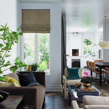 Brown Velvet Sofa, Contemporary, living room, House & Home
