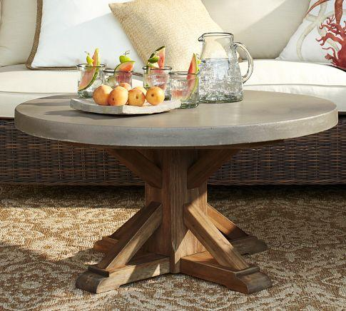 Abbott Concrete Top Round Coffee Table Pottery Barn - Pottery barn outdoor coffee table