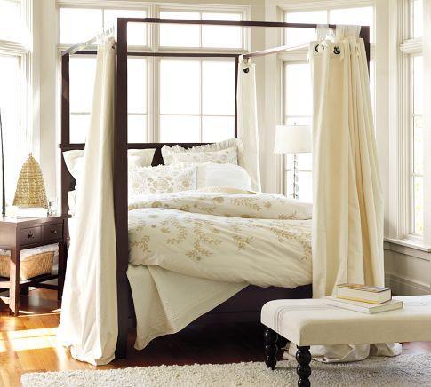 Farmhouse Canopy Bed | Pottery Barn & Retro Glitz Quatrefoil Gold Queen Canopy Bed