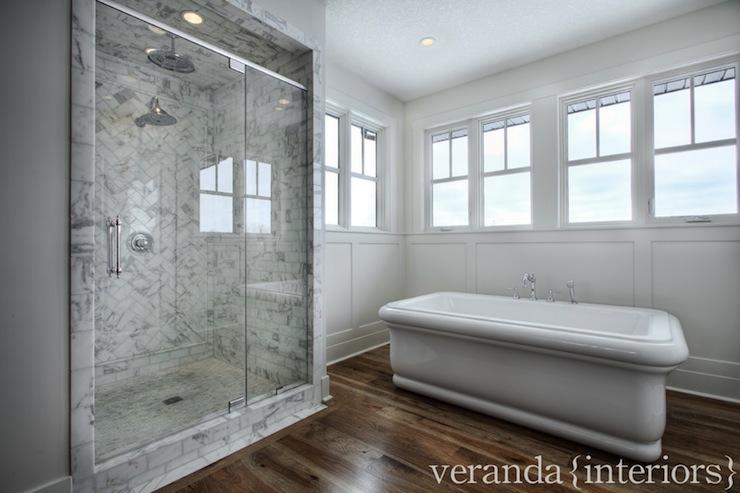 Marble Shower Design Transitional Bathroom