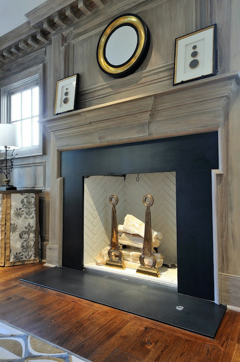 Herringbone Fireplace Surround Design Ideas