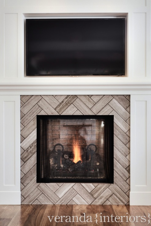 Herringbone Fireplace Contemporary Living Room