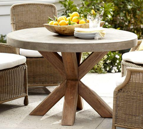 Abbott Concrete Top Round Fixed Dining Table Pottery Barn - Pottery barn concrete coffee table