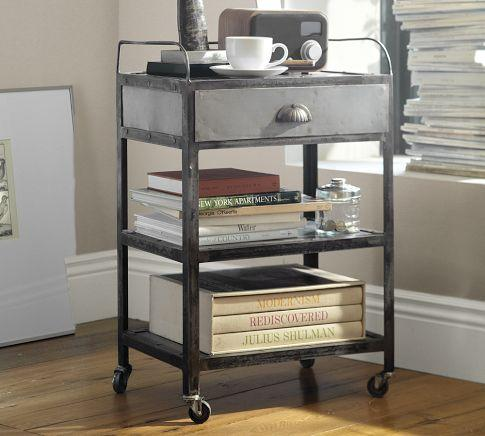 Awesome Metal Rolling Cart Bedside Table   Pottery Barn