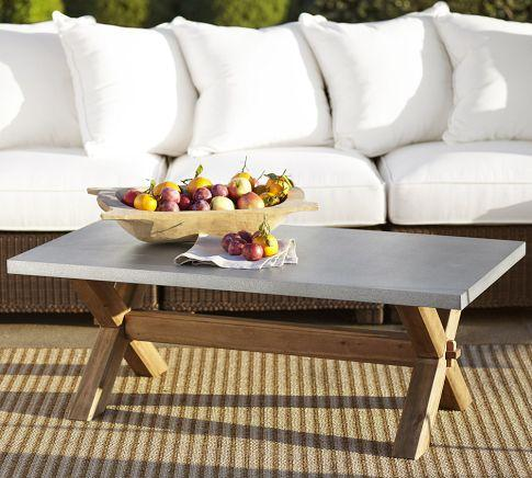 zinc top rectangular coffee table - pottery barn