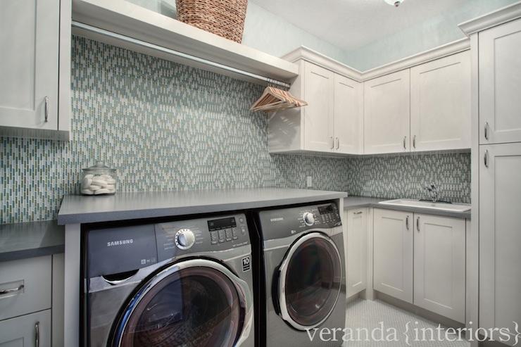 Blue Glass Tile Backsplash Contemporary Laundry Room