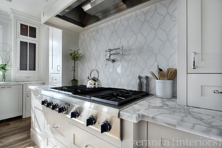 Mother Of Pearl Backsplash Transitional Kitchen Slc