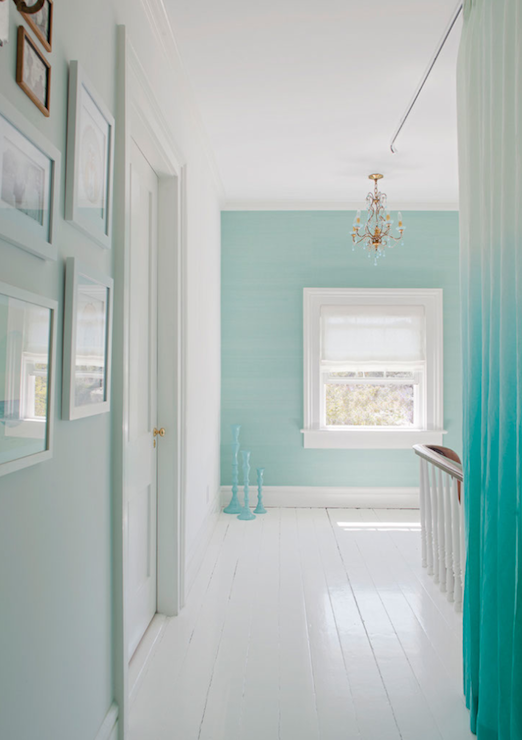 Turquoise Ombre Curtains Eclectic Entrance Foyer