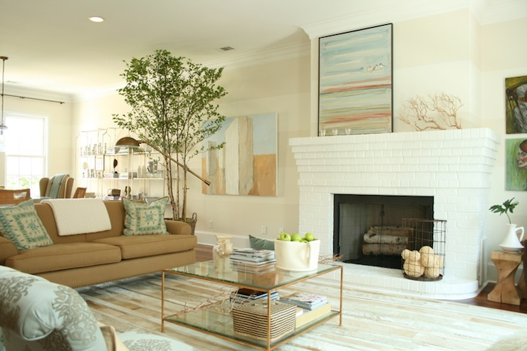 White Brick Fireplace Contemporary Living Room