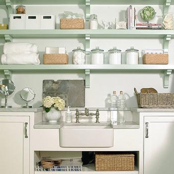 Mint Green Shelves, Transitional, bathroom, Rethink Design Studio