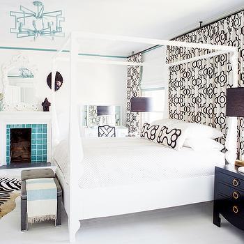 Black and White Curtains, Contemporary, bedroom, Rethink Design Studio