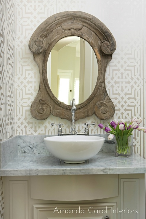 Taupe Powder Room with Hammered Metal Sink Bowl - Transitional ...