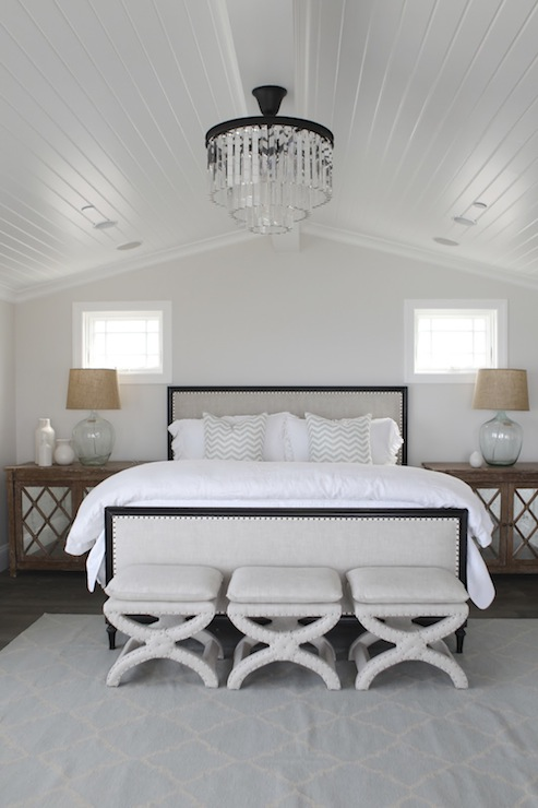 Mirrored Chandelier Over Bed Design Ideas
