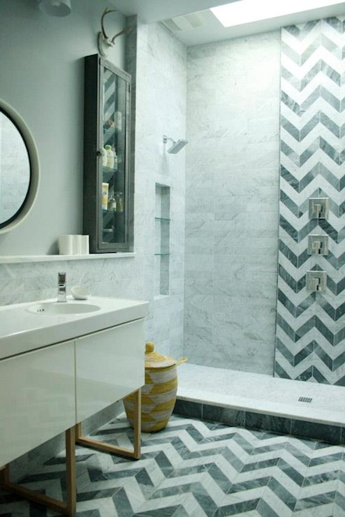 Chevron Tiles Contemporary Bathroom Rethink Design