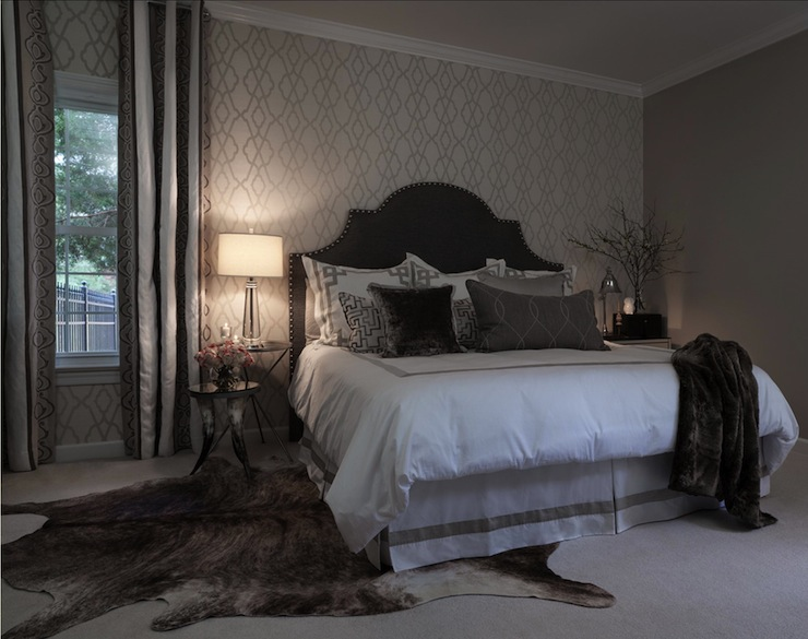 Brown Velvet Headboard With Metal Nightstand Traditional