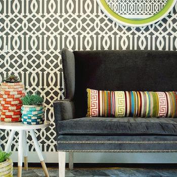 Dark Gray Velvet Settee, Contemporary, entrance/foyer, Rethink Design Studio