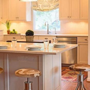 Cowhide Bar Stools, Transitional, kitchen, Lauren Haskett Fine Design