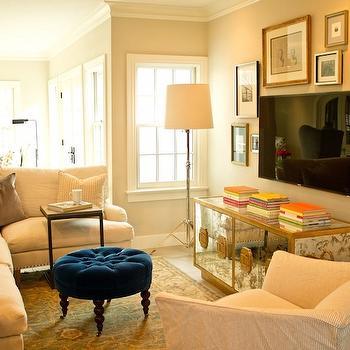 How to Hide TV, Transitional, living room, Lauren Haskett Fine Design
