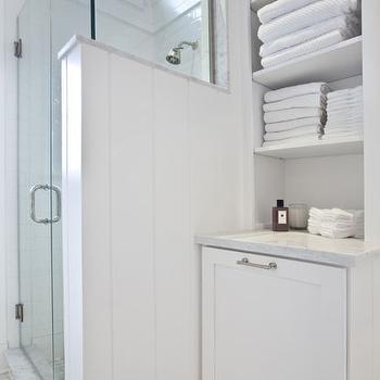 built in linen cabinet transitional bathroom