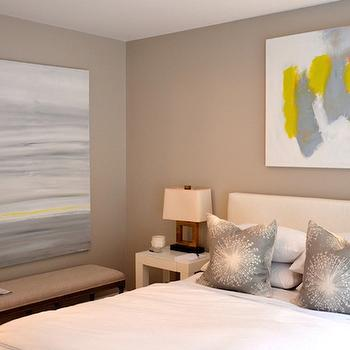 Yellow and Gray Art, Contemporary, bedroom, D2 Interieurs