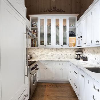 Calcutta Marble Backsplash, Mediterranean, kitchen, Hampton Design