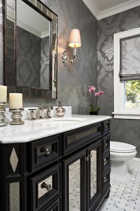 Black Mirrored Vanity Transitional Bathroom Elsie