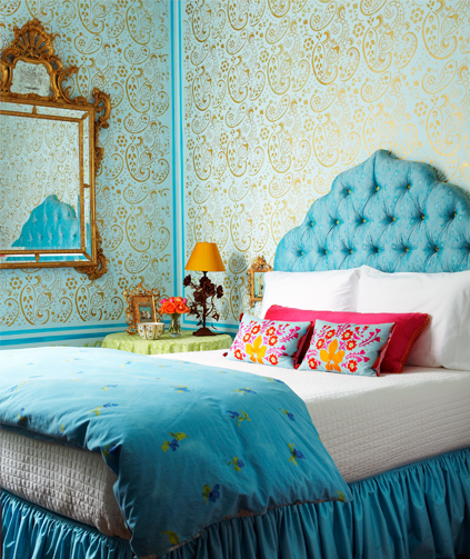 Aqua And Pink Bedroom Ideas: Turquoise Headboard