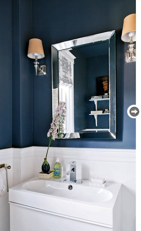 Navy blue bathroom contemporary bathroom style at home for Navy and white bathroom accessories