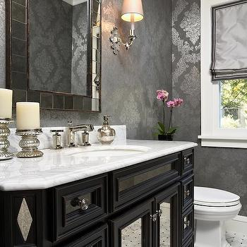 Metallic Damask Wallpaper Traditional Bathroom