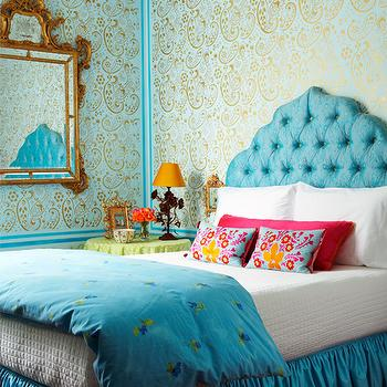 Turquoise Headboard, Eclectic, bedroom, Holly Dyment Interior Design