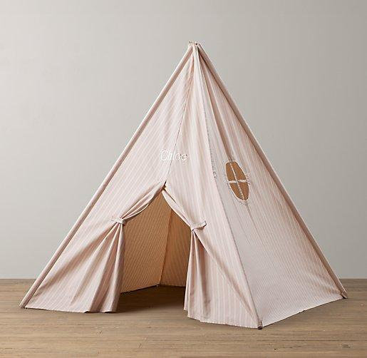 Printed Soft Pink Canvas Play Tent & Soft Pink Canvas Play Tent