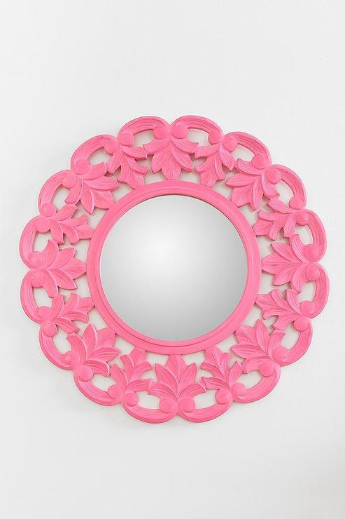 Pink Wall Mirror pink flower crown wall mirror