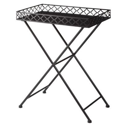 Perfect Black Moroccan Lattice Tray Table View Full Size