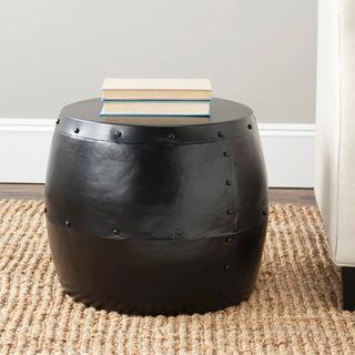 Safavieh Cerium Black Iron Drum Stool | Overstock.com