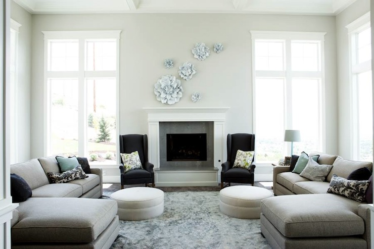 Sectionals Facing Each Other Contemporary Living Room