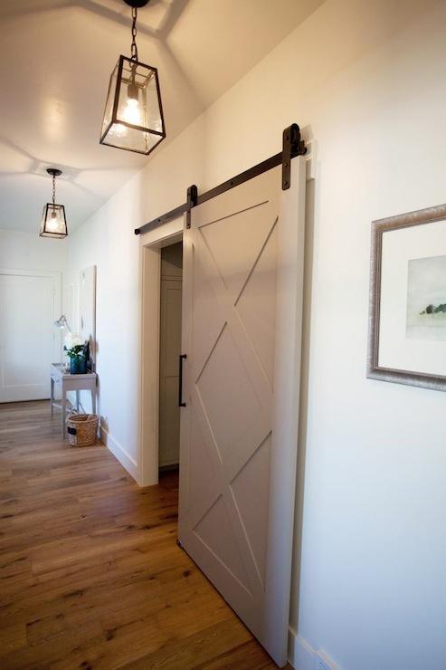 Sliding Foyer Doors : Gray barn door transitional entrance foyer utah