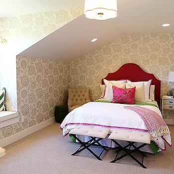 Red Velvet Headboard, Contemporary, girl's room, Utah Valley Parade of Homes