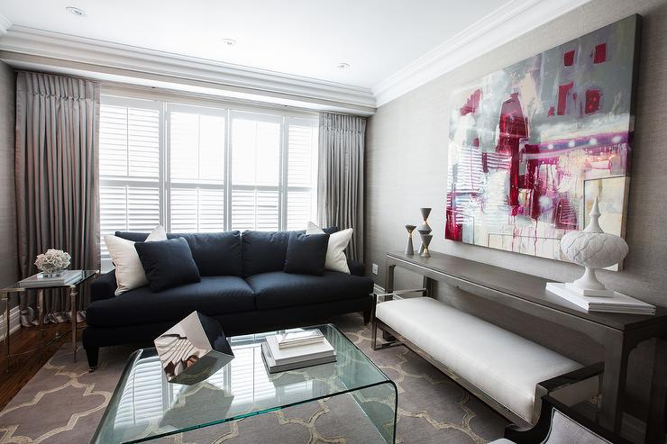 Navy Blue Sofa In Contemporary Living Room By Jennifer Backstein Interiors View Full Size